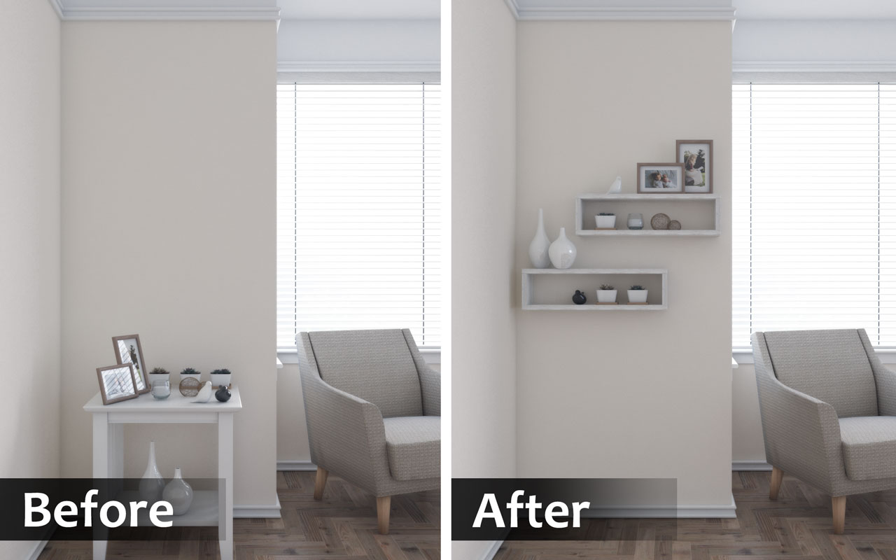 Use wall shelves rather than table to make bedroom bigger