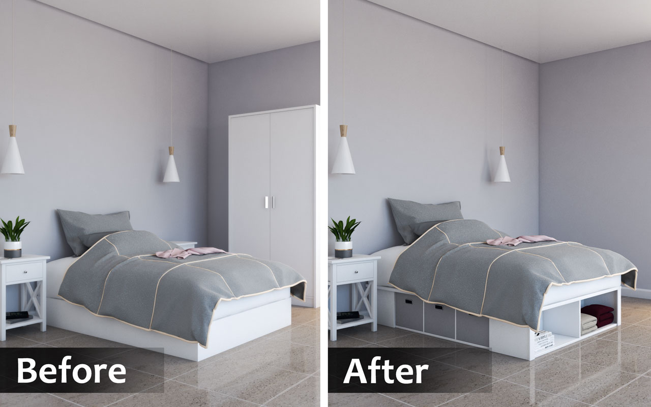 Using multi-functional furniture to make a bedroom looks bigger