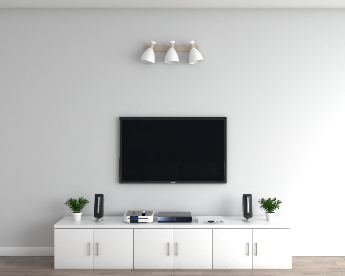 Wall lamp above TV ideas