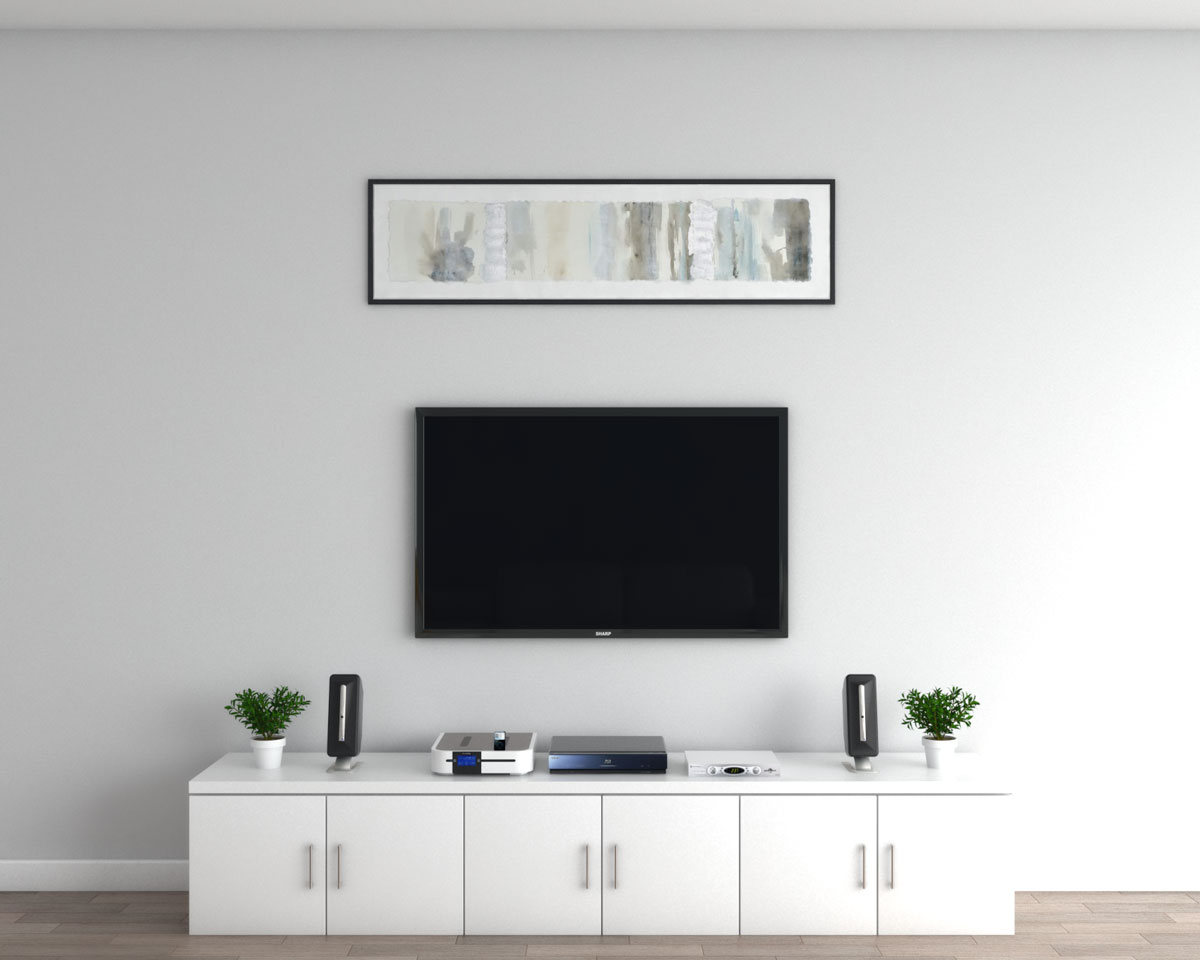 Artistic wide wall art wall painting above TV