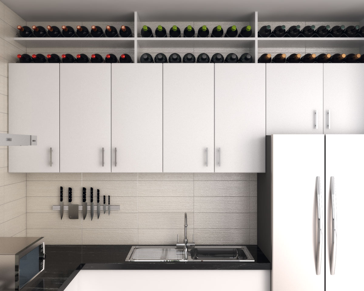 Creative ideas for above kitchen cabinets with wine rack