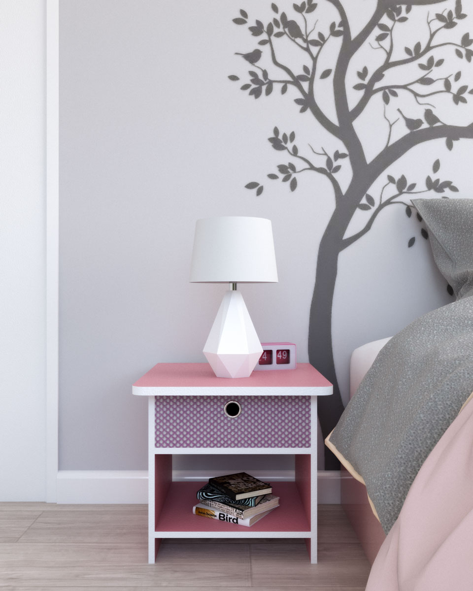 Furinno nursery colorful nightstand with storage shelf