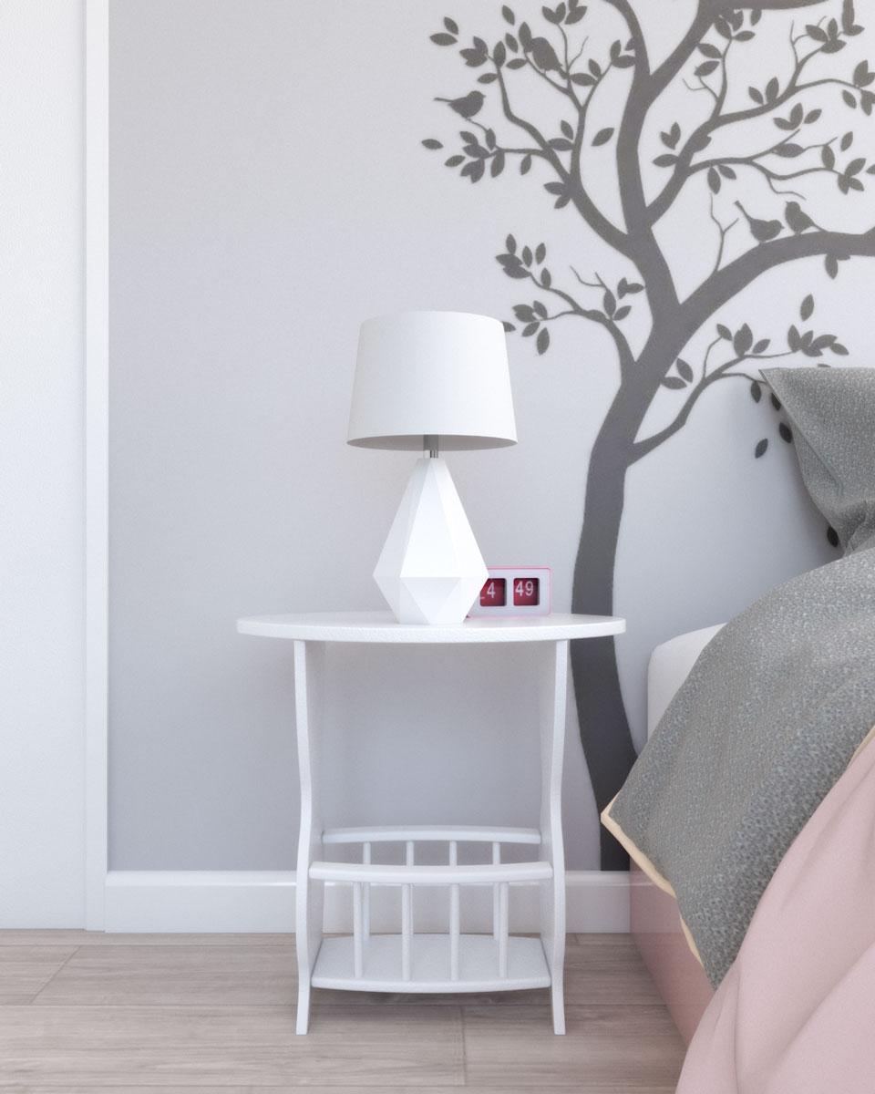 Frenchi furniture white nightstand with magazine style shelf