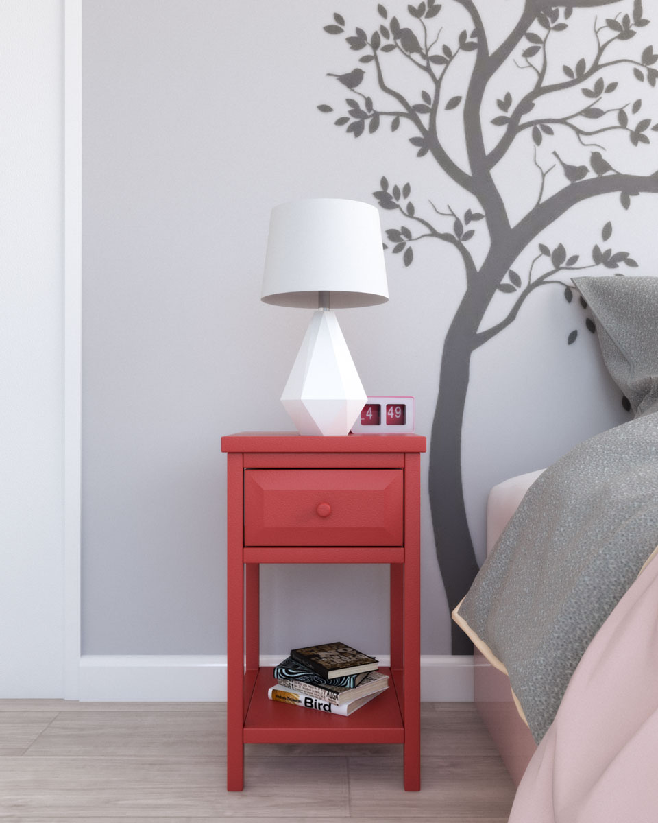 Sauder cottage red desert coral nightstand table