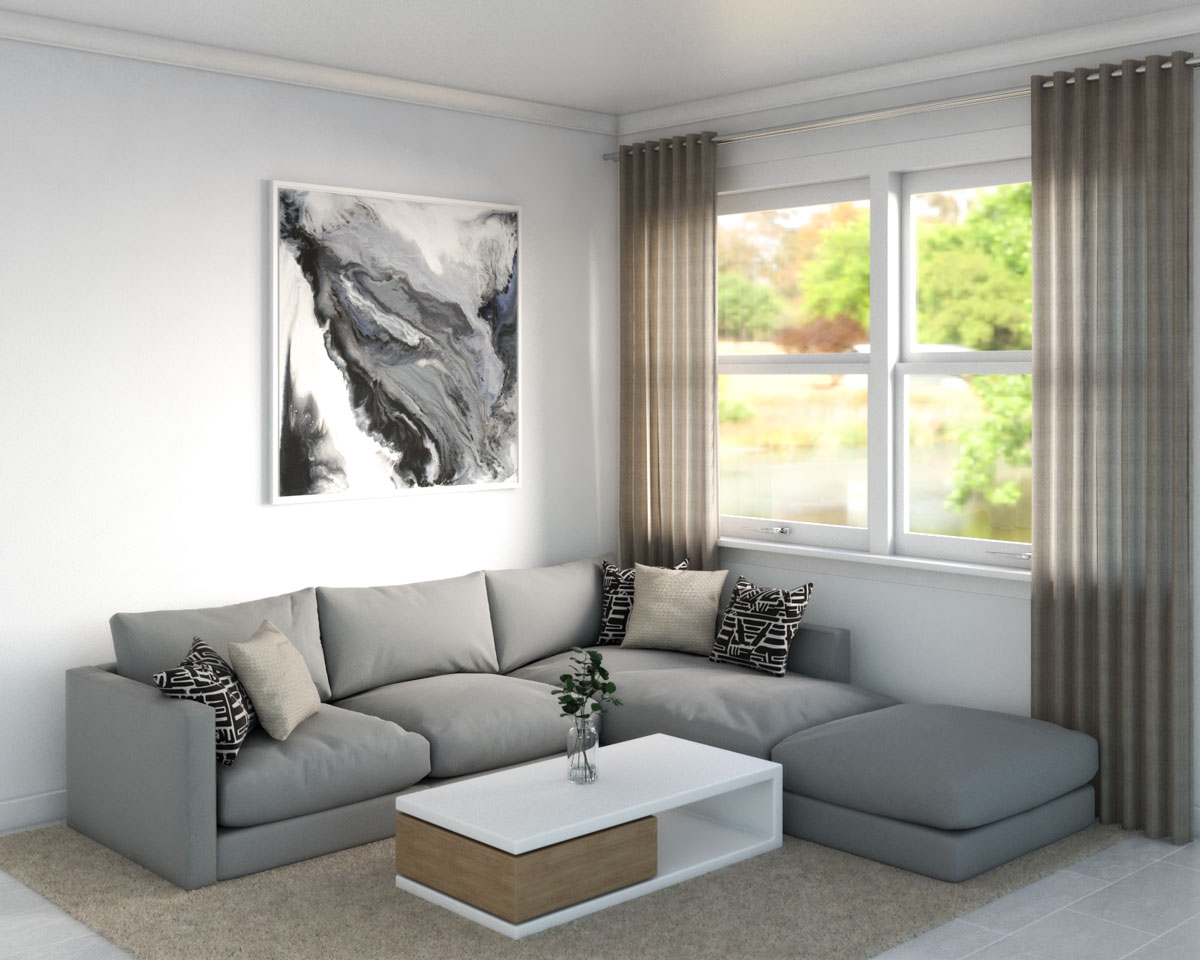 Beige rug with gray sofa