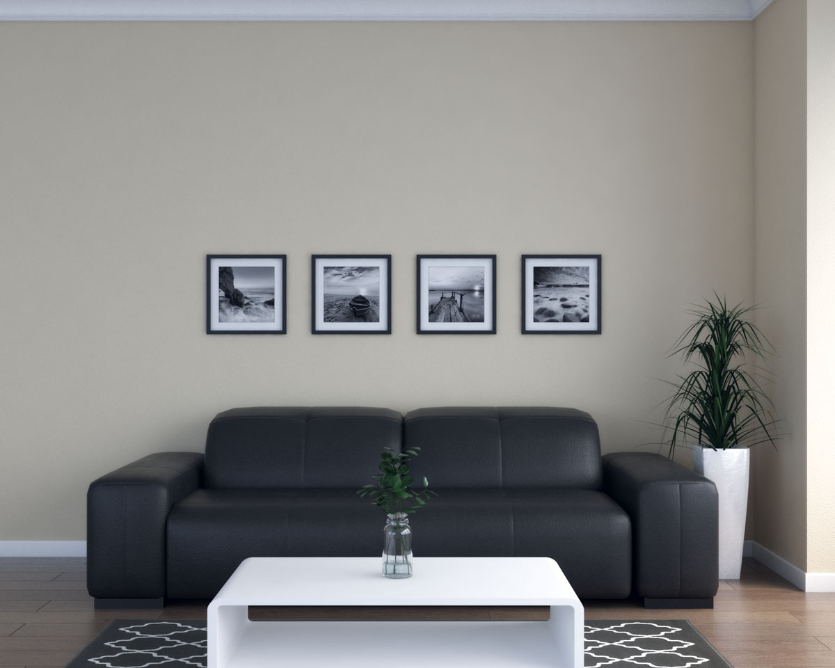 Tan walls and black couch in living room