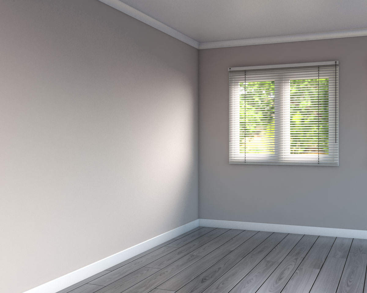 Brown walls with gray flooring