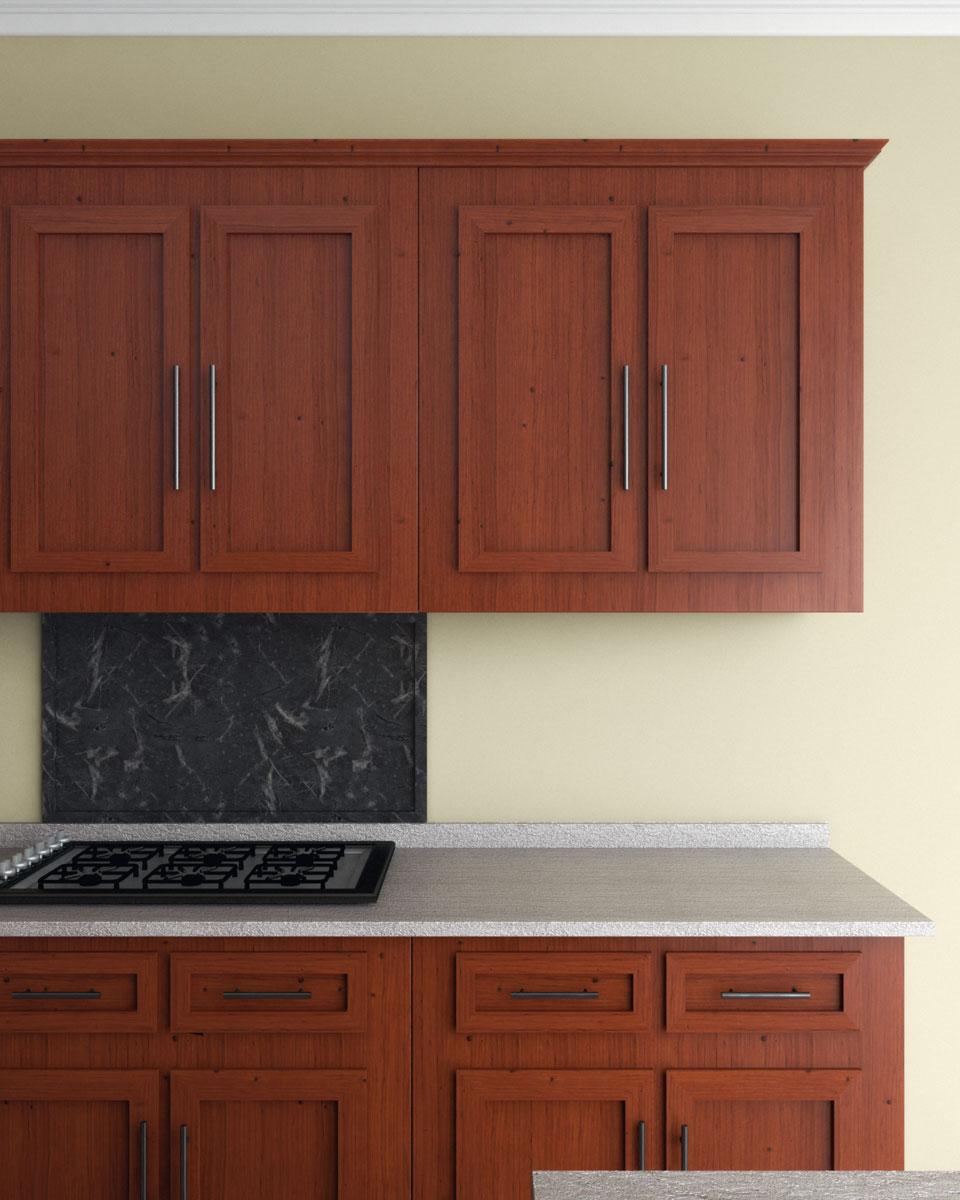 Lemongrass wall paint with cherry wood cabinets