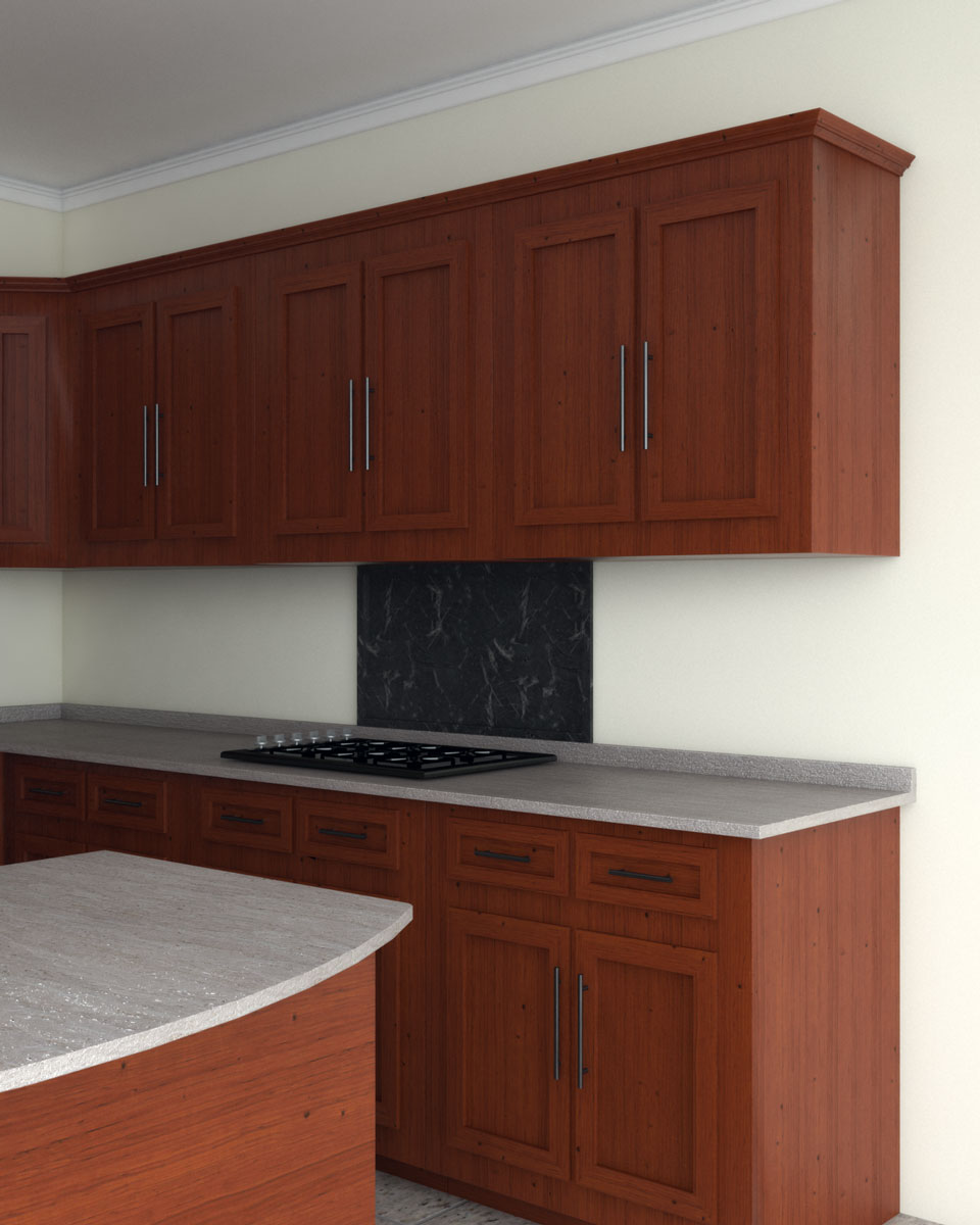 Beige wall with cherry cabinets