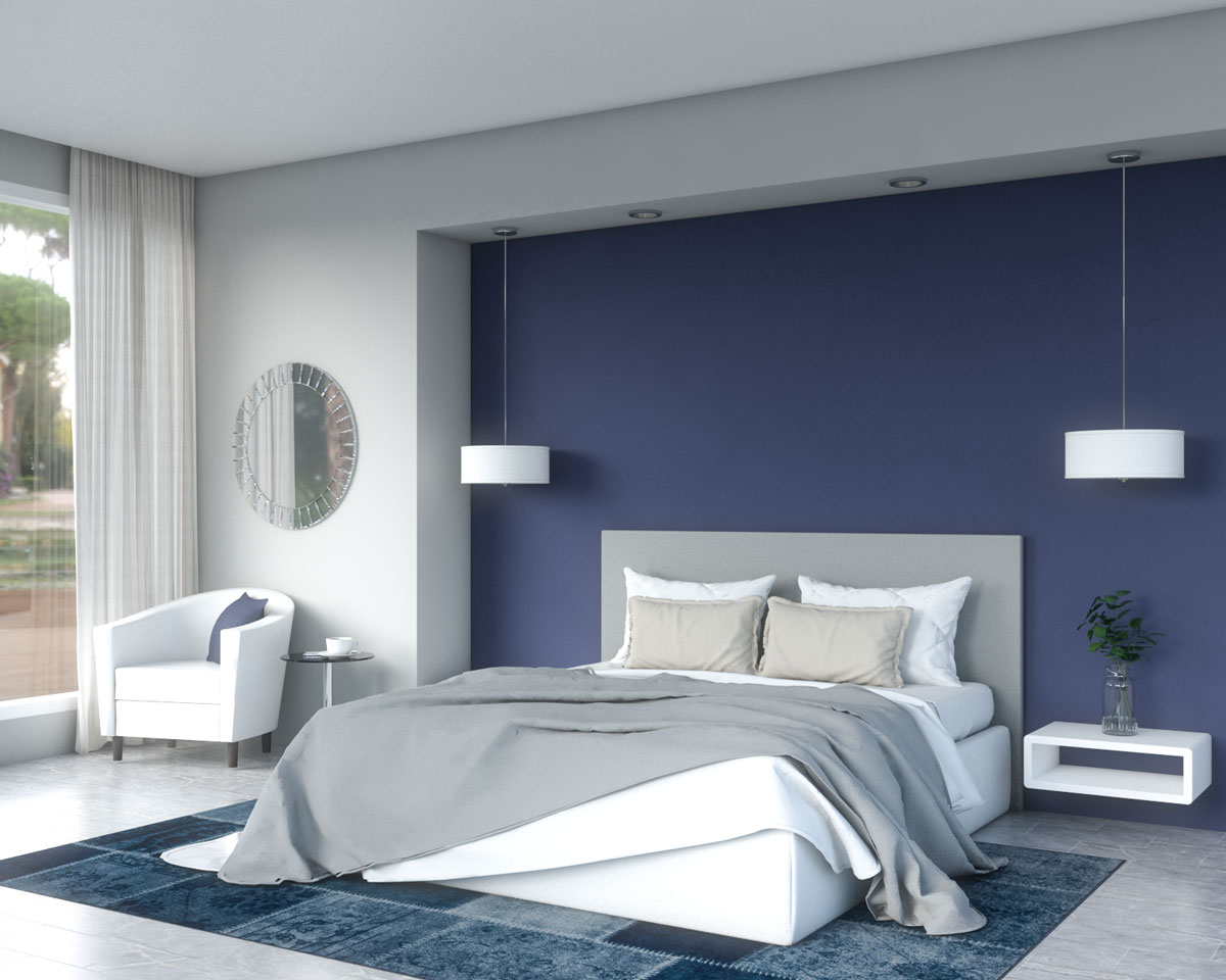 Modern classical style master bedroom with dark blue and gray color scheme