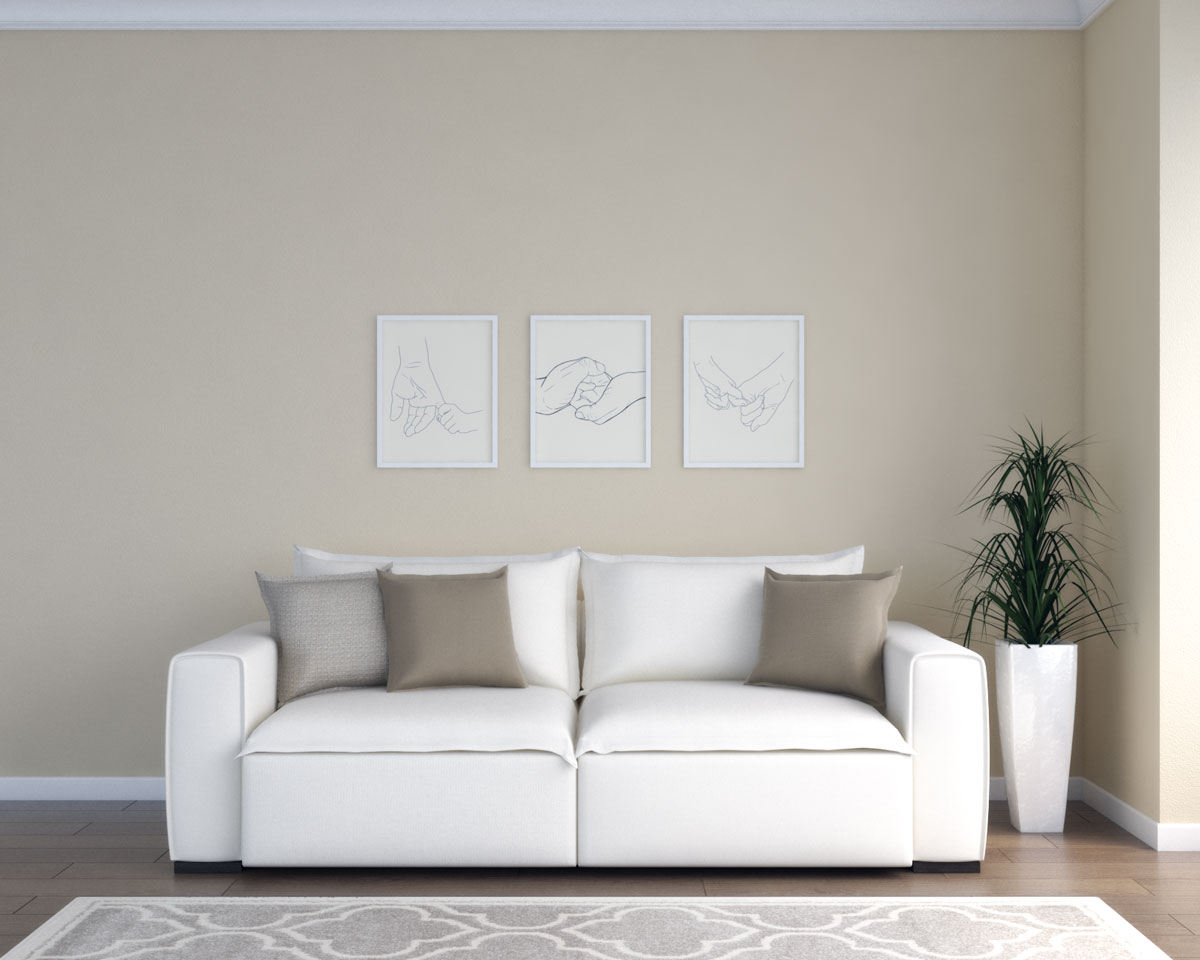 Tan living room with cream/beige furniture
