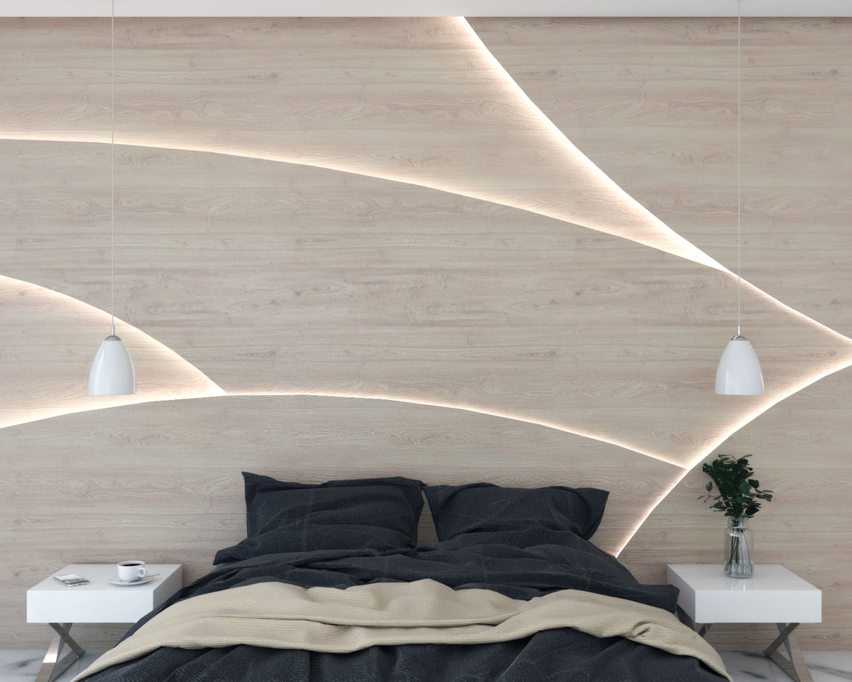 Curve shaped wood panel wall