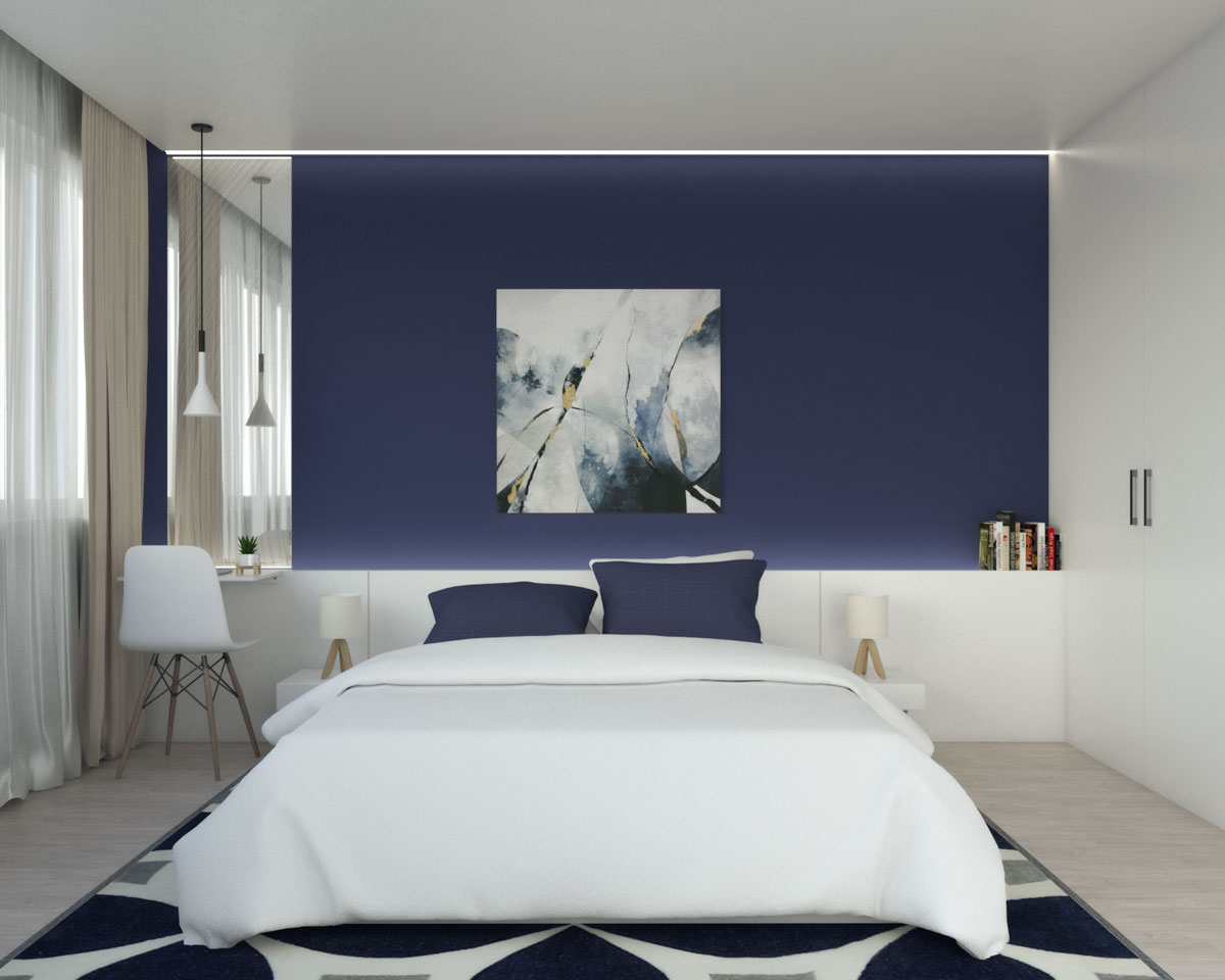 Simple minimalist blue and white bedroom