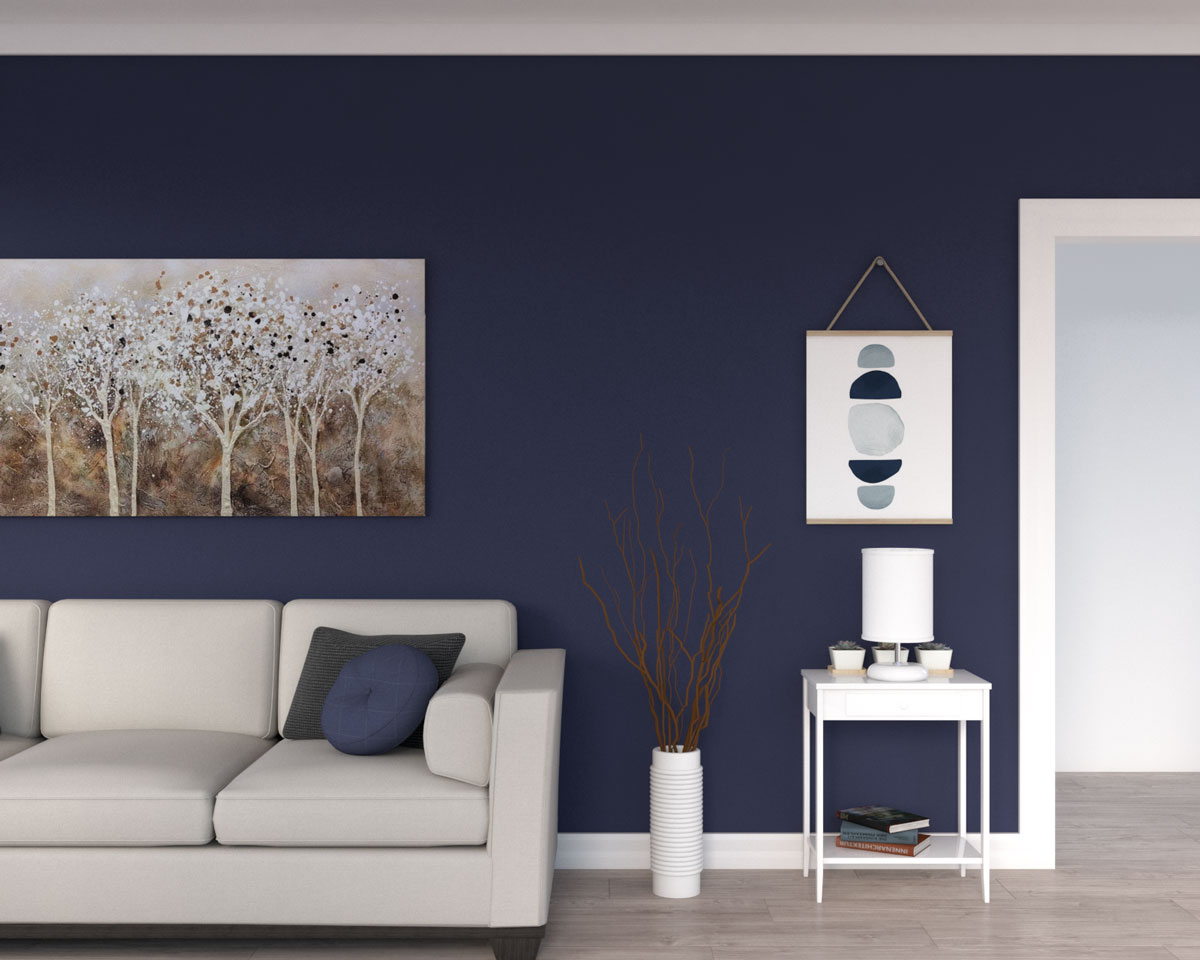 Large blue living room wall