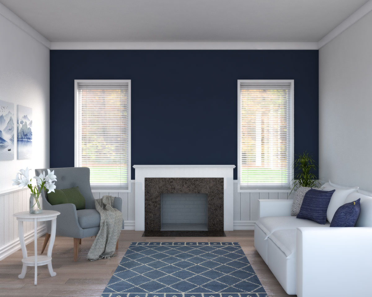 Dark blue accent wall with fireplace