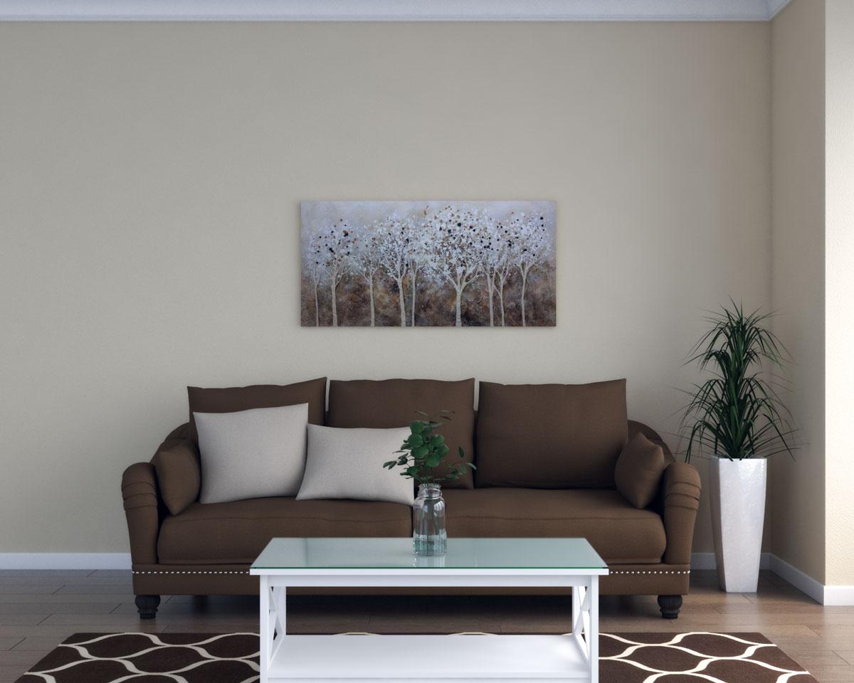 Tan walls with dark brown furniture
