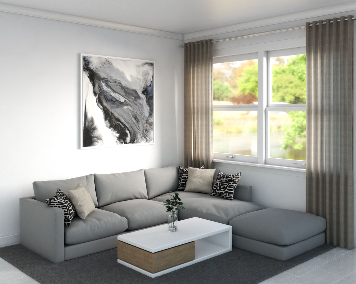 Dark gray rug with light gray couch