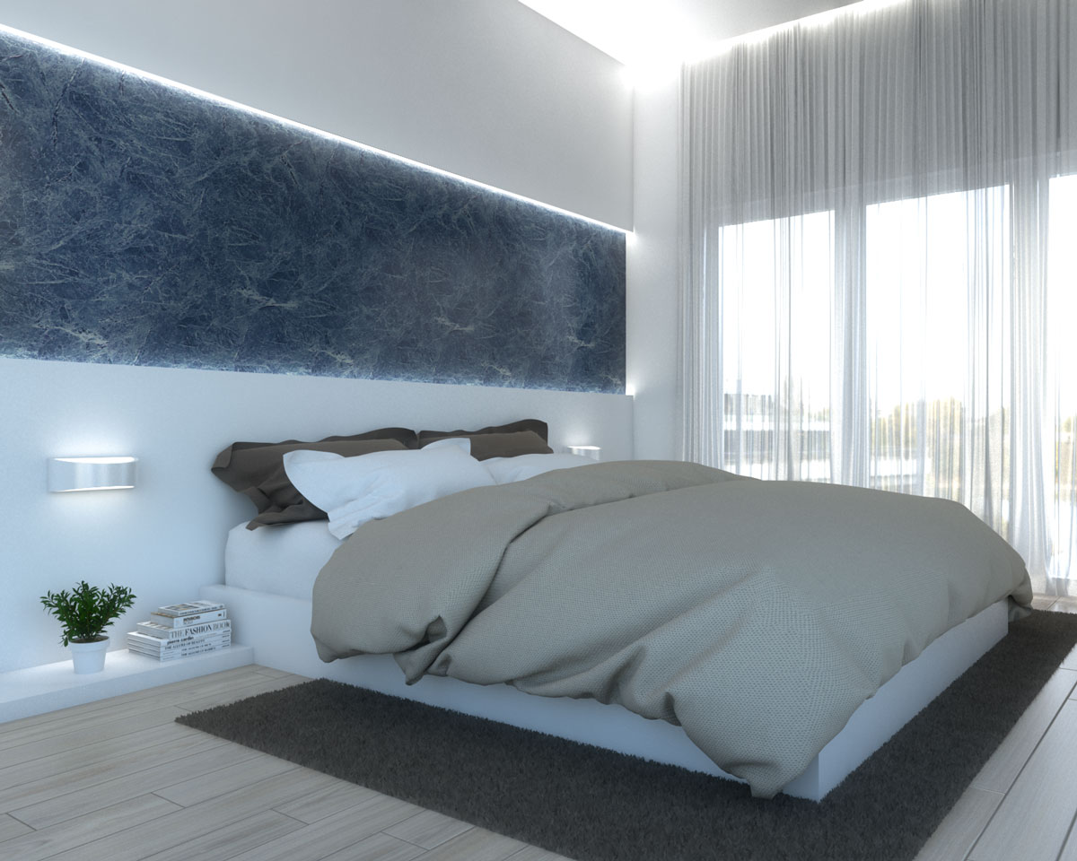 Elegant small apartment bedroom with blue marble and white