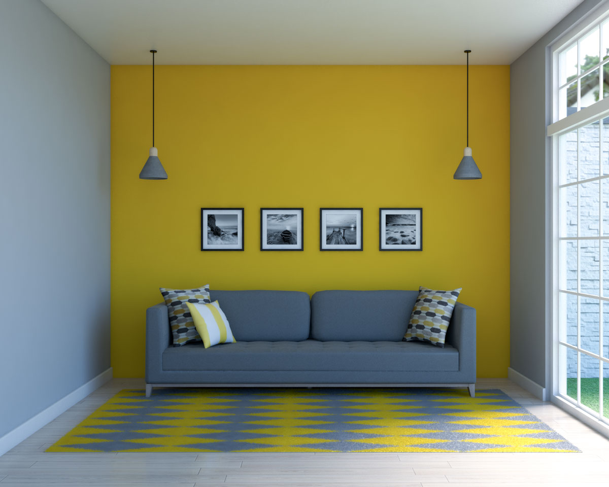 Gray and yellow living room decor ideas