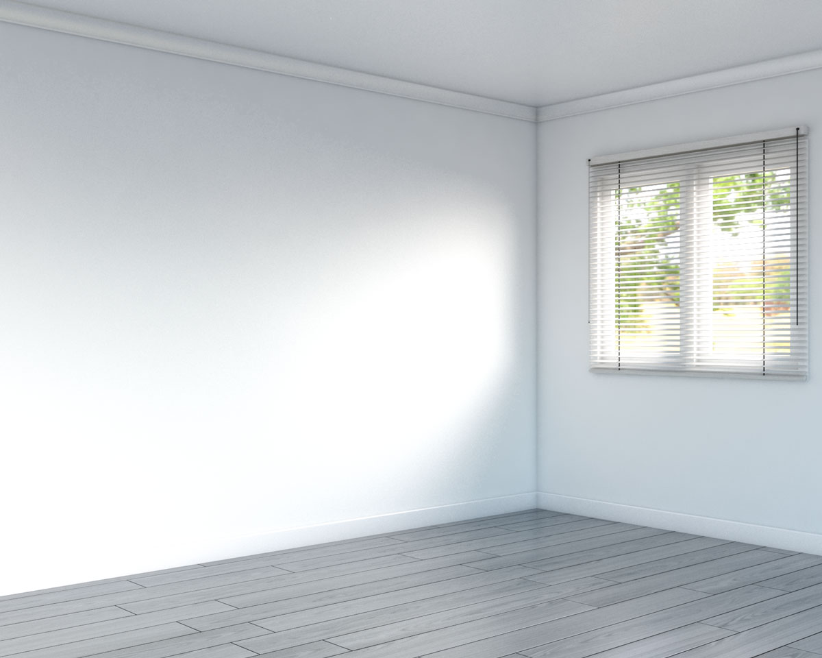 Gray floor with white wall
