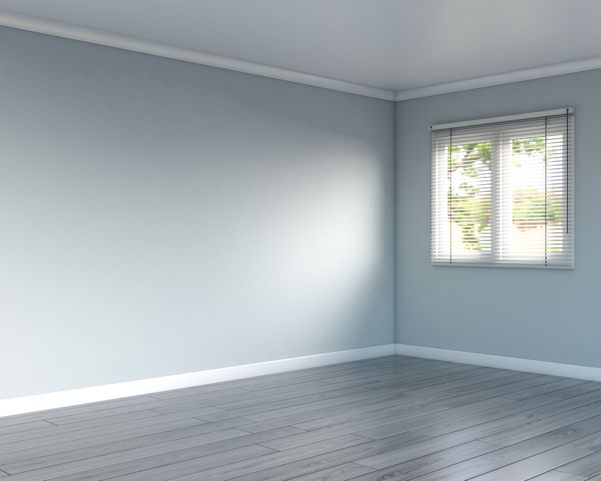 Misty wall in living room with gray flooring