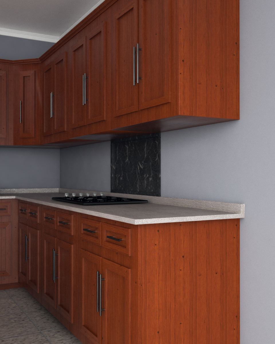 Gray wall paint with cherry wood cabinets