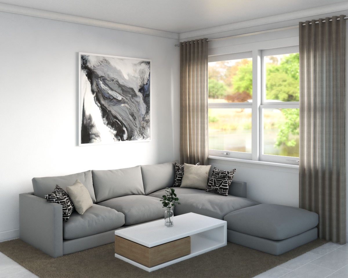 Light brown area rug in gray living room