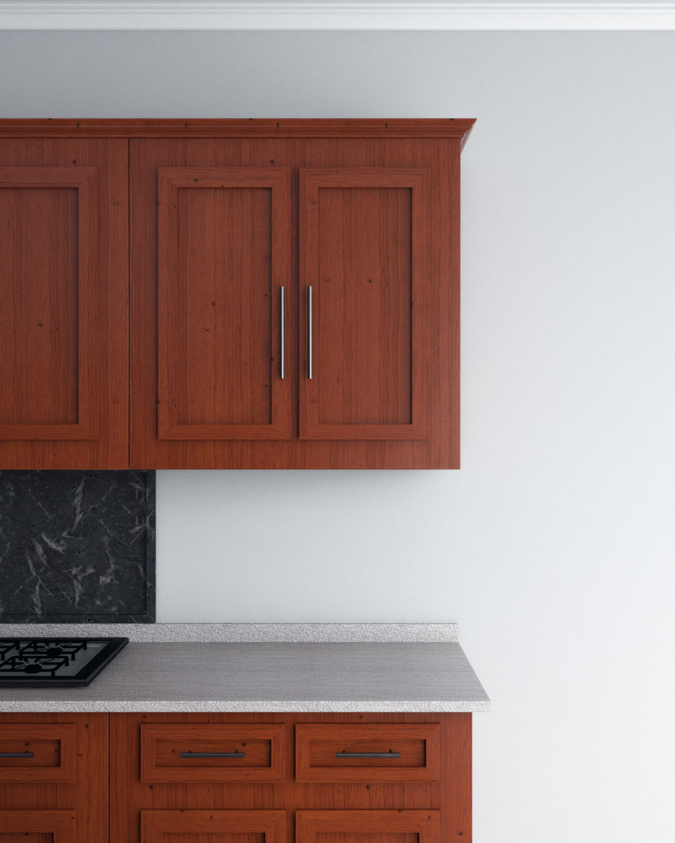Light gray with cherry wood cabinets