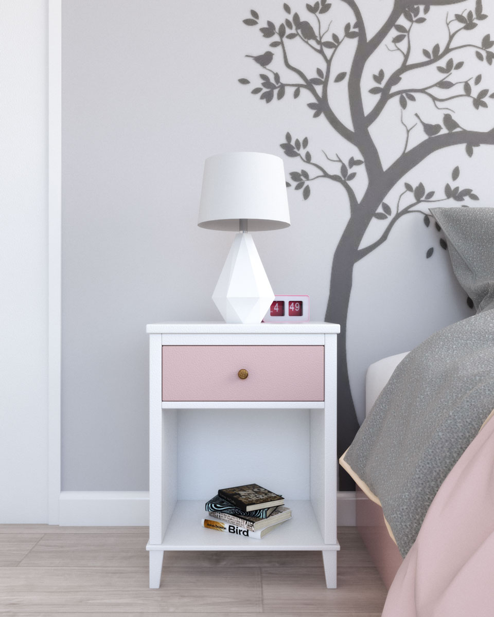 Little seeds white and pink cute elegant nightstand table
