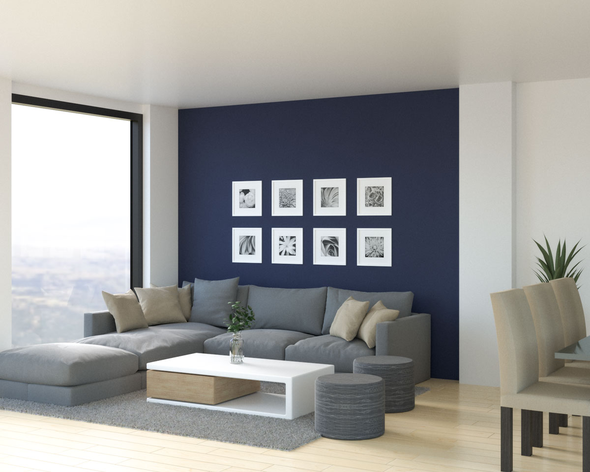 Living room villa with dark blue accent wall