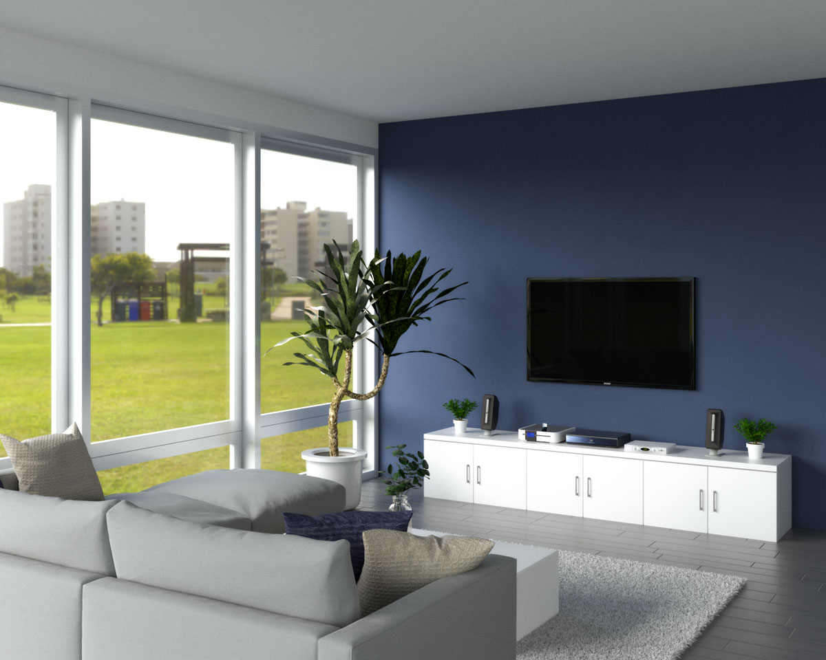 Contemporary living room with dark blue accent wall behind TV