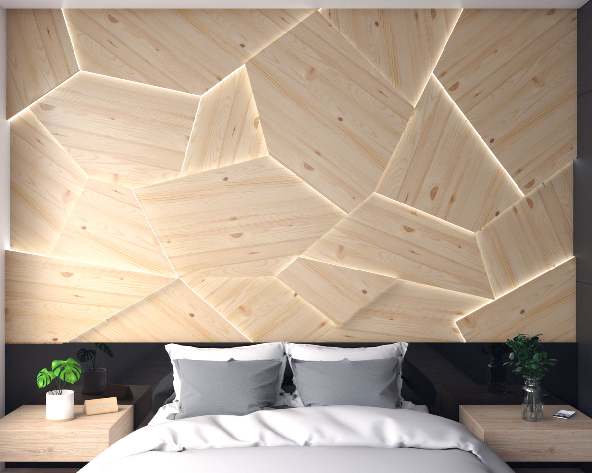 Wood panel with LED strip light