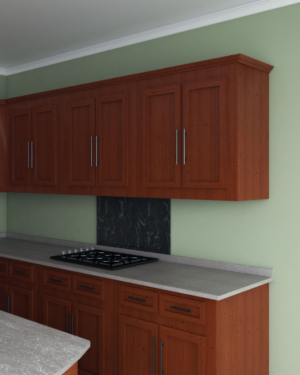 Olive wall with cherry cabinets