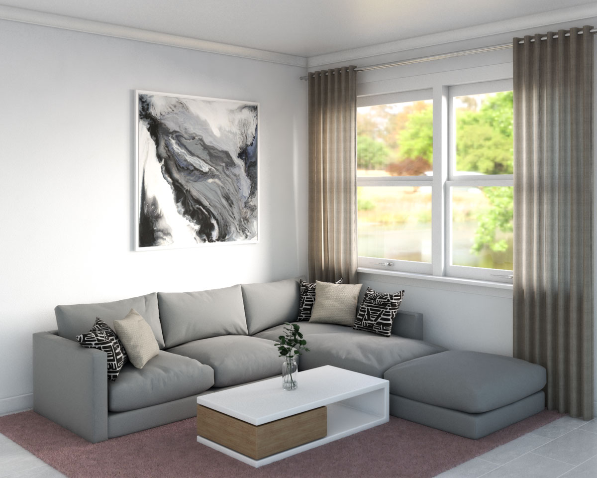 Pale pink carpet with gray couch
