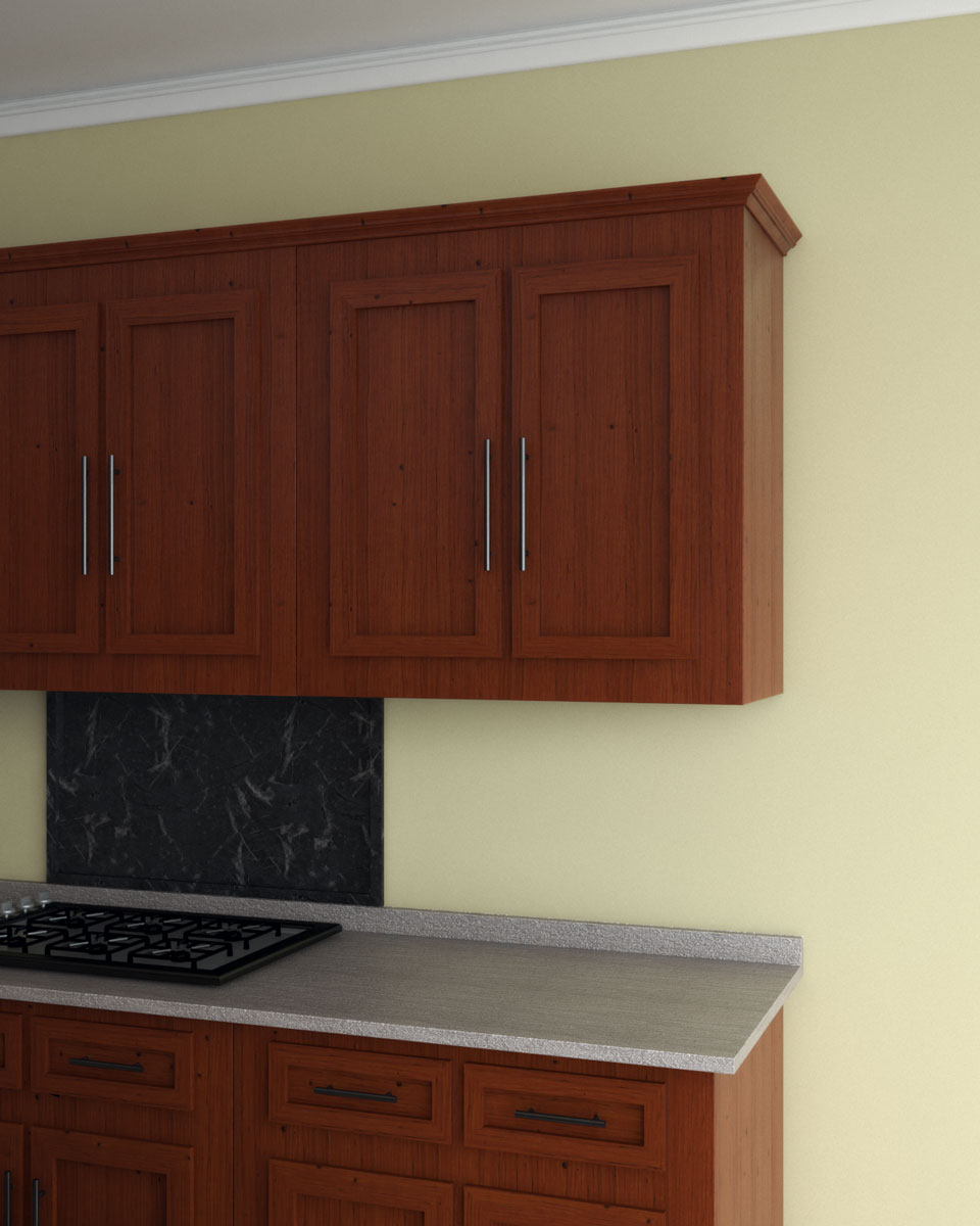 Pale yellow wall paint with cherry cabinets
