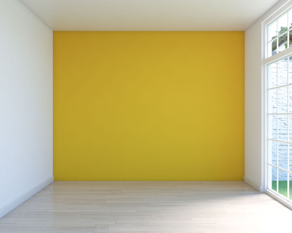 Empty room with yellow walls