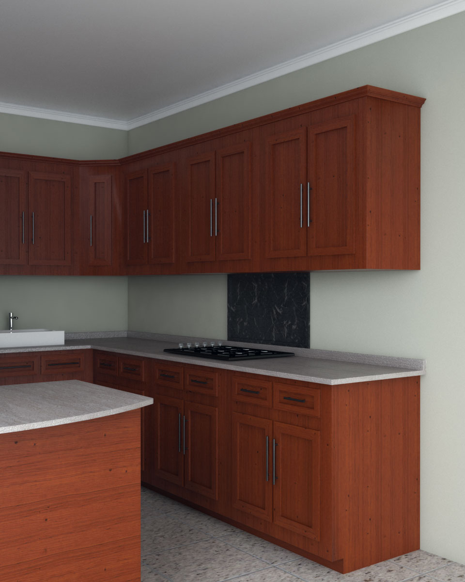 Sage wall paint with cherry wood cabinets