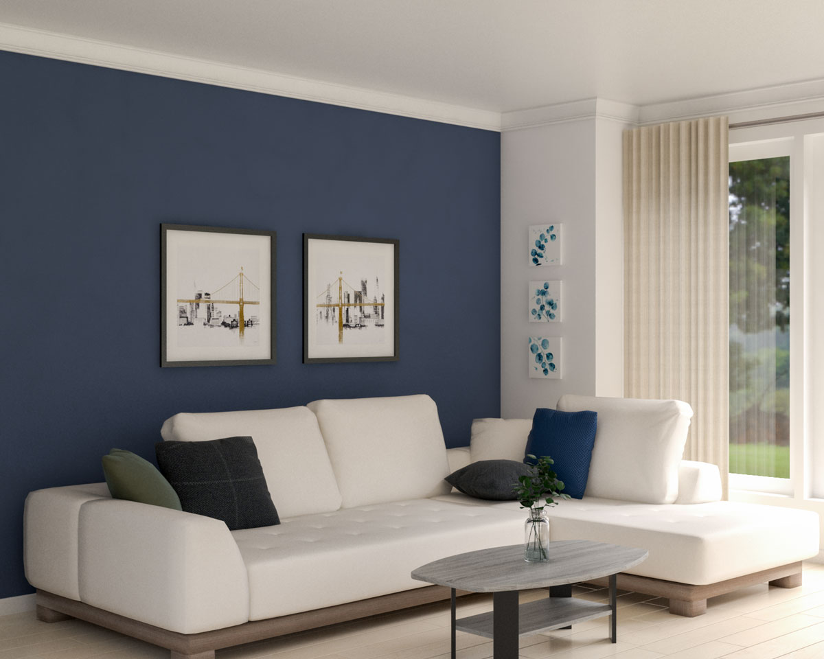 Simple minimalist living room with dark blue wall