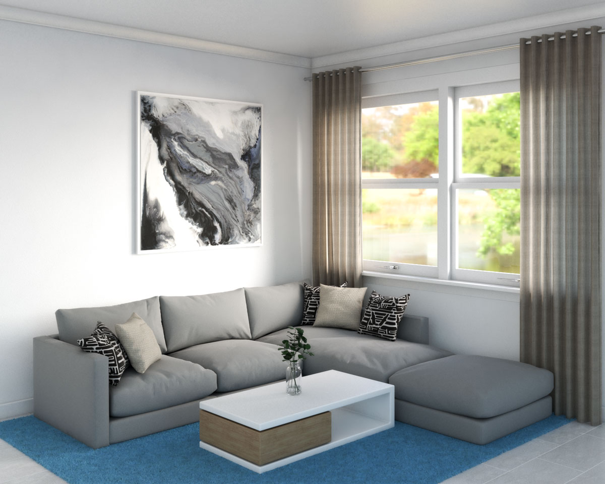 Light blue rug with gray sectional