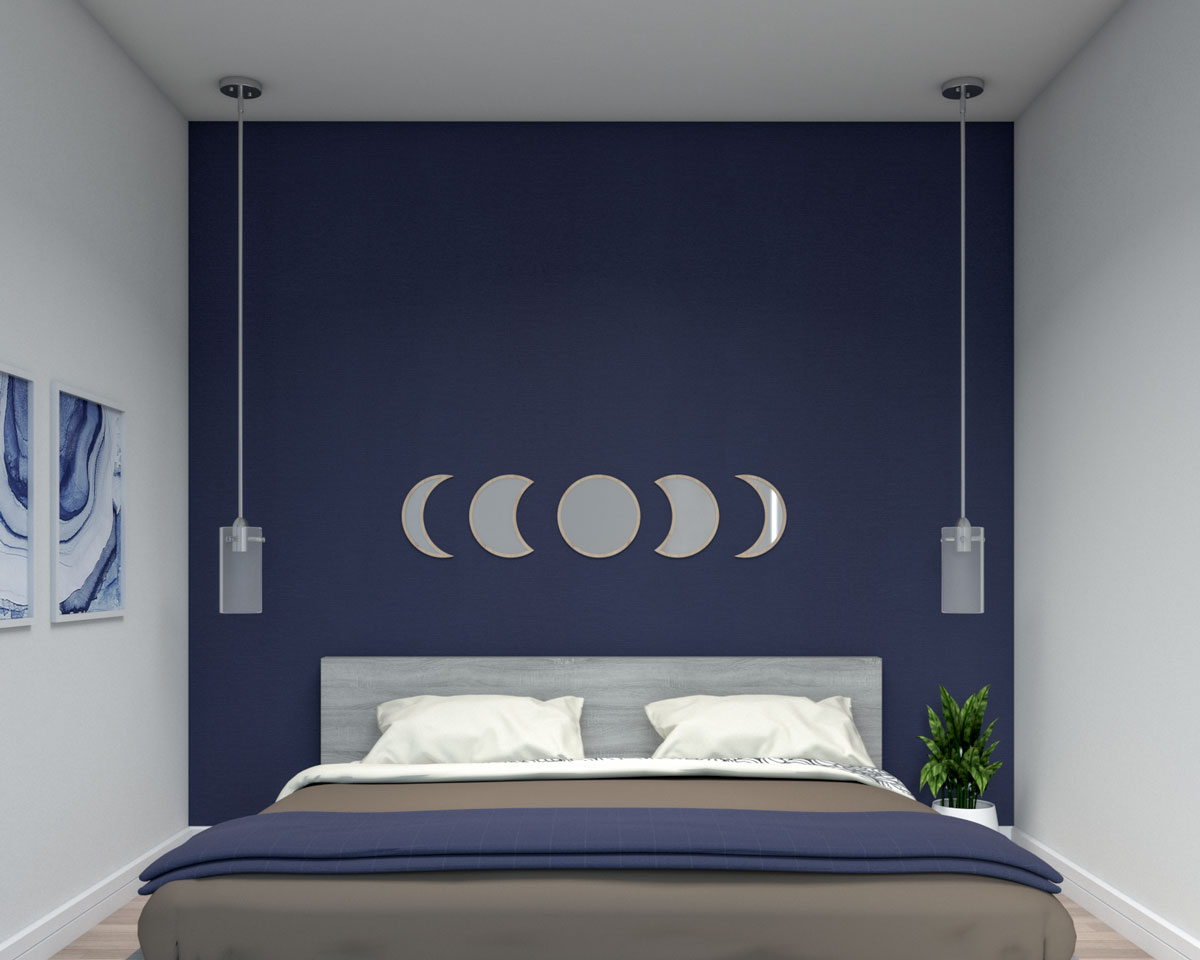 Small bedroom with dark blue wallpaper