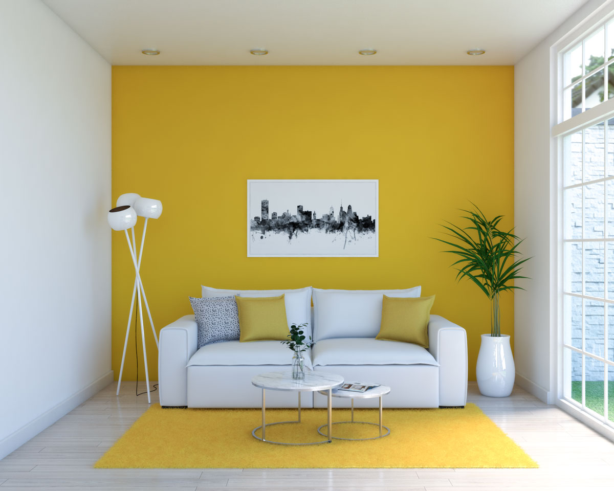 White and yellow living room with contemporary decor style