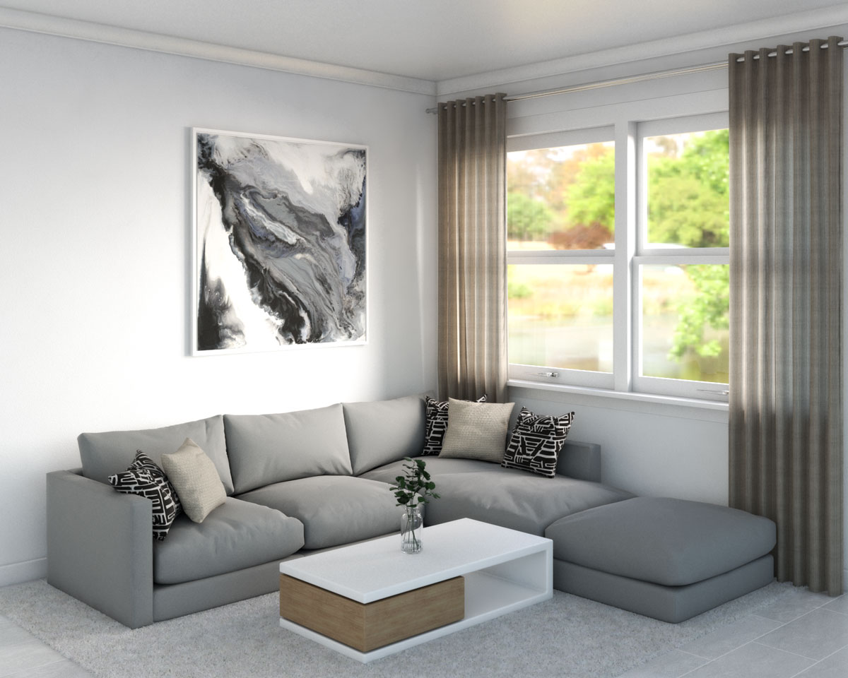 White Rug with Gray Sectional Sofa