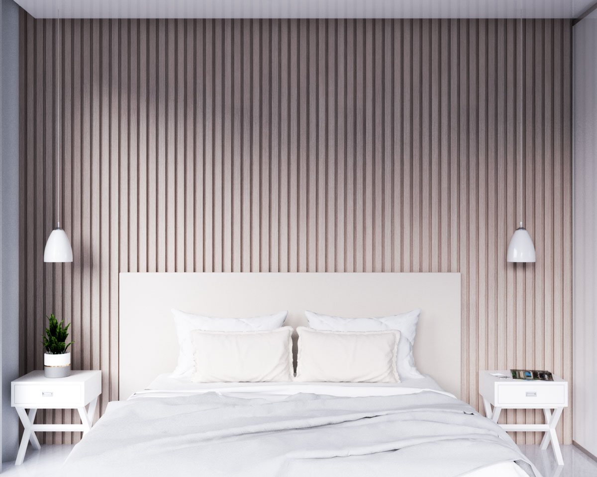 Modern look wood accent wall in bedroom