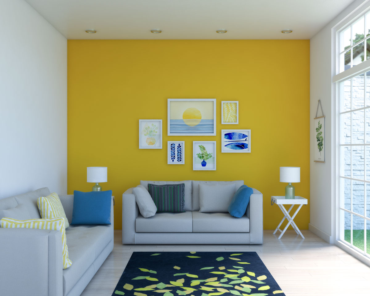 Yellow living room with tropical decor ideas