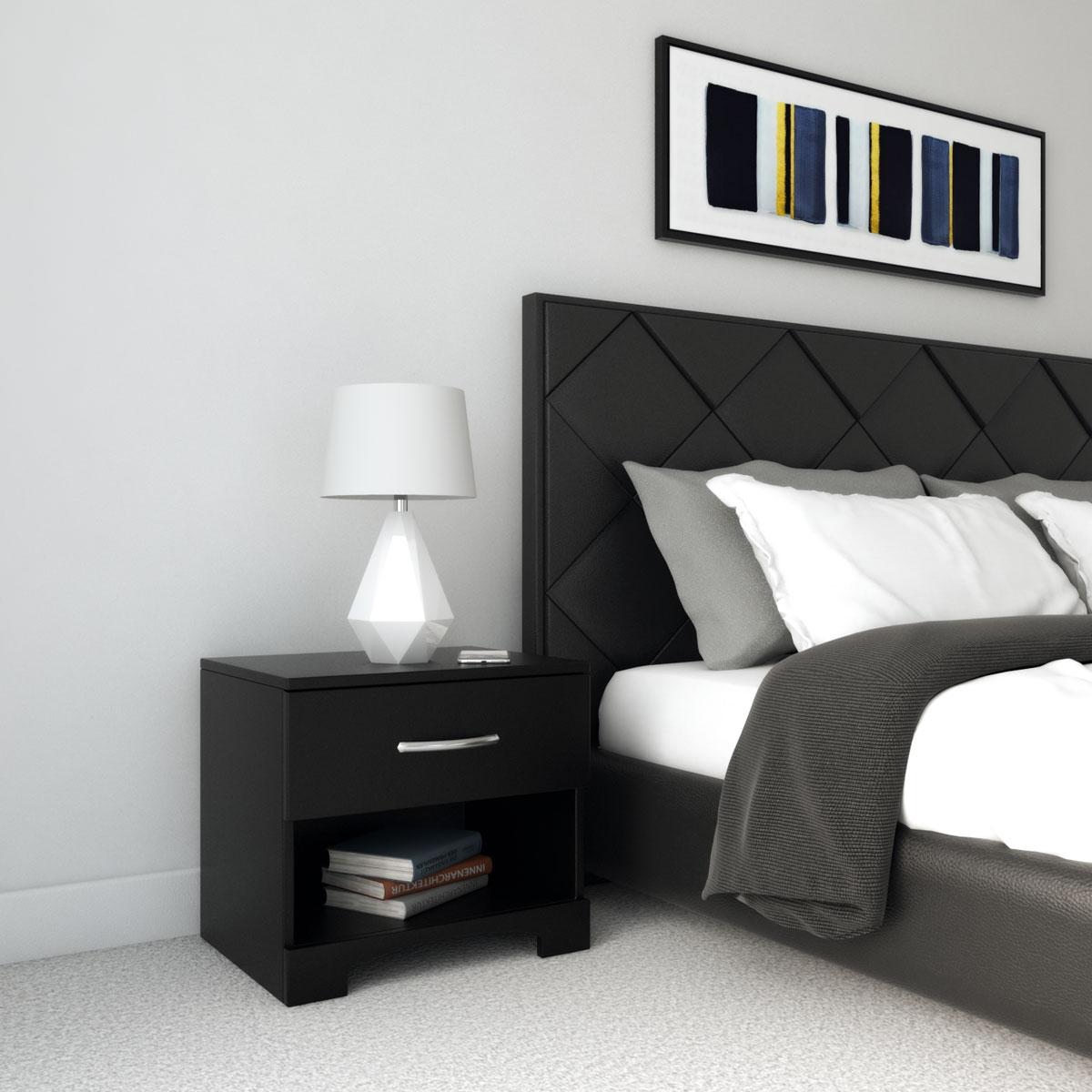 elegant black nightstand with black headboard