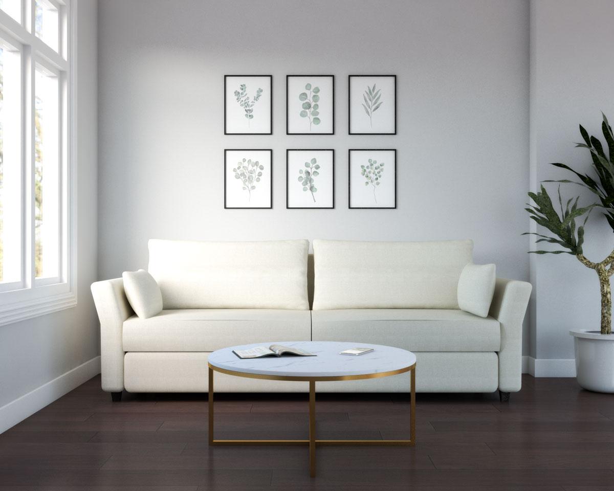 Elegant living room with dark brown wood floor