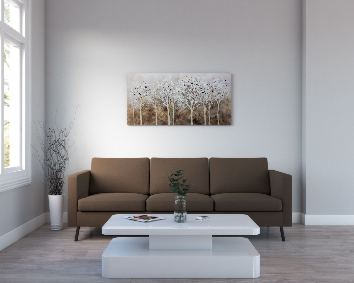 Living room with light brown floor and gray walls