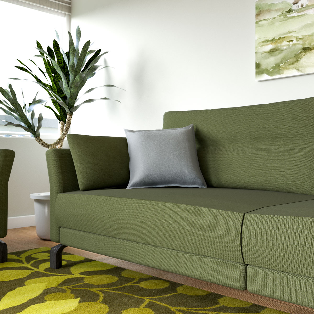 Luxury light gray throw pillow with olive green couch