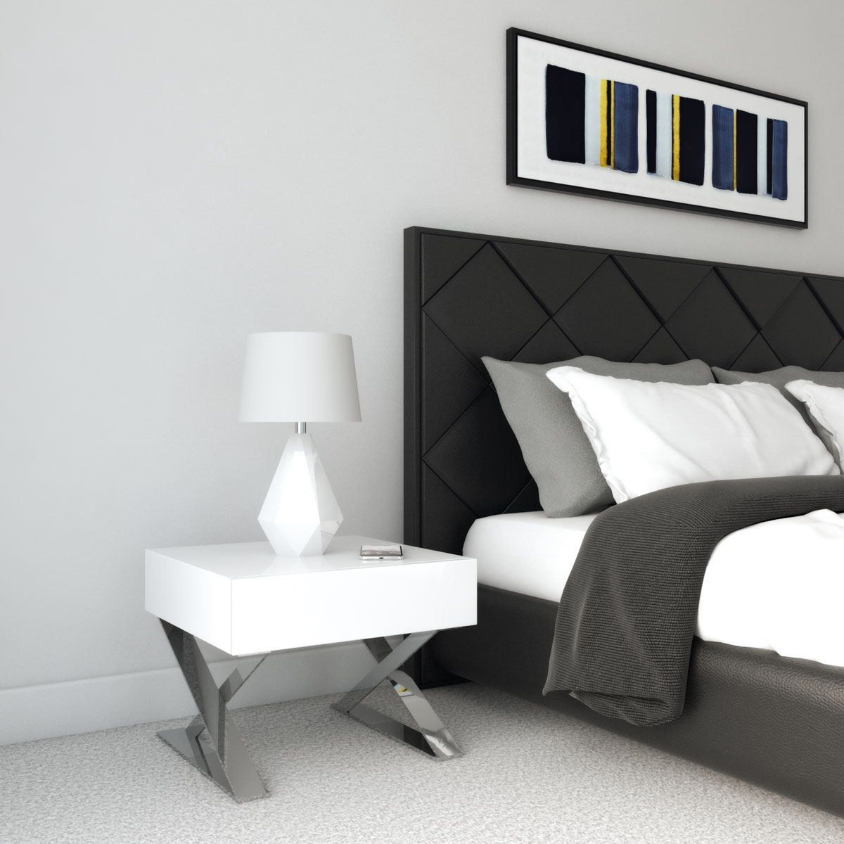 white and chrome nightstand with black bed