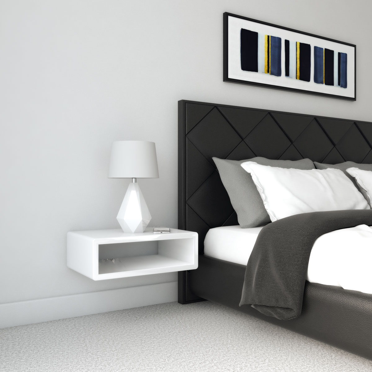 white nightstand with black bedding